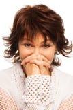 Shy senior woman Royalty Free Stock Photos