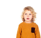 Shy small child with yellow jersey Royalty Free Stock Photos