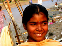 Shy Smile. A poor Indian girl gives a shy smile Stock Photography