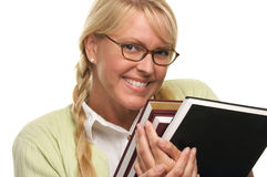 Shy Student Carries Stack of Books Stock Photos