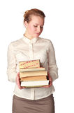 Shy teacher with books Stock Image