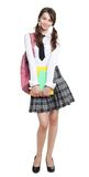 Shy teen girl. With books and backpack and school formal clothes Royalty Free Stock Photography