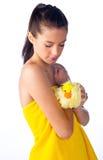 Shy teen girl bathing Stock Image