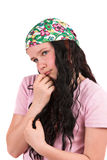 Shy ten year old girl wearing a bandana stock photo
