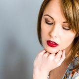 Shy Unhappy Depressed Young Woman royalty free stock image