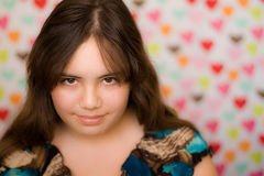 Shy Valentine teen girl Stock Photo
