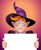 Shy wizard boy holding blank message card, Halloween banner illustration Royalty Free Stock Photos