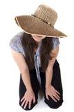 Shy woman. royalty free stock image