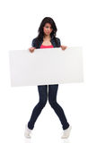 Shy woman with placard Stock Photos