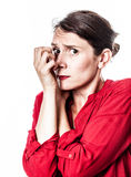 Shy woman protecting herself against frightening anxiety Royalty Free Stock Photos