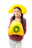 Shy Woman With Telephone Need Help Royalty Free Stock Photography