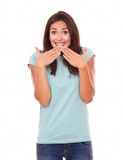Shy wrong adult female smiling at you Royalty Free Stock Photos