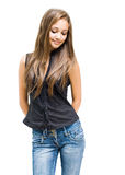 Shy young brunette girl. Royalty Free Stock Image