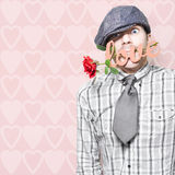 Shy Young Romeo Boy In Love With Heart In Mouth Stock Image