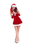 Shy young woman in christmas costume Stock Photos