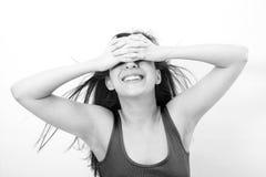 Shy young woman hiding face Stock Photos