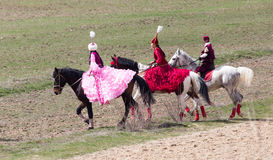 Shymkent, KAZAKHSTAN - 22 March 2017: Celebration of the Kazakh holiday NARIYZ. Competitions on horses.  royalty free stock photo