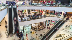 Shymkent Plaza Mall with people and escalators. 4K TimeLapse - January 2017, Shymkent, Kazakhstan stock video
