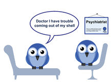 Shyness. On the Psychiatrist couch with Doctor Quack and Shyness Royalty Free Stock Photos