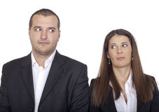 Shyness on the first date. Two people who are ashamed Royalty Free Stock Images