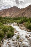Shyok river landscape in Turtuk valley in Ladakh, India. Shyok river landscape in Turtuk valley. Turtuk is the last village of India on the India - Pakistan royalty free stock photos