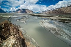 Shyok river at Nubra Valley. India, Ladakh Royalty Free Stock Images