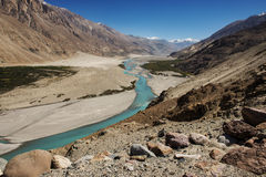 Shyok river in Nubra valley Ladakh ,Jammu & Kashmir, India Stock Photos