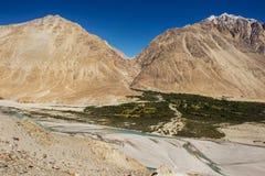 Shyok river in Nubra valley Ladakh ,Jammu & Kashmir, India - September 2014 Stock Photos