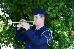Siły Powietrzne fanfarzysta bawić się klepnięcia przy veteran's pamiątkowi fotografia stock
