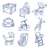 Siège de voiture de bébé, landau, sac, berceau, chariot, icônes de parc illustration libre de droits