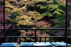Siège du windowsill dans le jardin japonais de zen Photos libres de droits