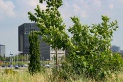 Siège social de Krupp avec des arbres devant lui images stock
