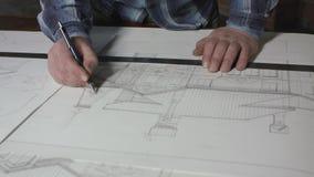 Siège social 4k de Makes Blueprints At d'architecte banque de vidéos
