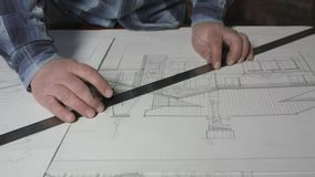 Siège social 4k de Makes Blueprints At d'architecte clips vidéos