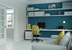 Siège social moderne avec la chaise jaune et le rendu bleu de la conception intérieure 3d de mur Images libres de droits
