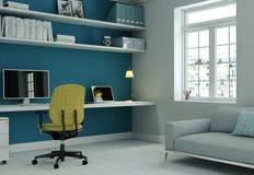 Siège social moderne avec la chaise jaune et le rendu bleu de la conception intérieure 3d de mur Photos libres de droits