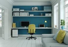Siège social moderne avec la chaise jaune et le rendu bleu de la conception intérieure 3d de mur Photo stock