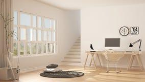 Siège social scandinave, lieu de travail de grenier, intérieur minimaliste De Images stock