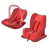 Sièges de voiture rouges de bébé réglés Photos libres de droits