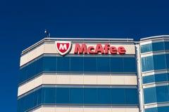 Sièges sociaux d'entreprise de McAfee Images libres de droits