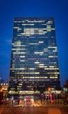 Sièges sociaux de l'ONU New York City au crépuscule Photo libre de droits