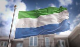 Siërra het 3D Teruggeven van Leone Flag op Blauwe Hemel de Bouwachtergrond Stock Foto's