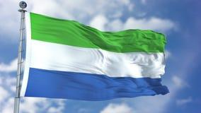 Siërra Leone Flag in een Blauwe Hemel Stock Afbeelding