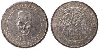 100 siërra Leonean-leones muntstuk, 1996, beide kanten Royalty-vrije Stock Afbeelding