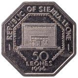 50 siërra Leonean-leones muntstuk, 1996, omgekeerde Stock Afbeeldingen