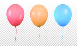 się kolorowego Realistyczny wibrujący kolorowy hel szybko się zwiększać z faborkami Odosobniony ballon royalty ilustracja