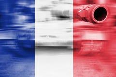 Siły wojska temat, ruch plamy zbiornik z Francja flaga ilustracji
