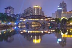 Si川石,城Du City在中国 一个美丽的城市,组合 免版税库存照片