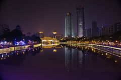 Si Chuan, Cheng du City στην Κίνα Μια όμορφη πόλη, συνδυασμός στοκ φωτογραφίες