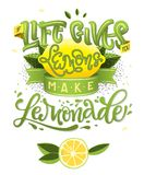 Si la vie vous donne les citrons font la limonade - illustration de calligraphie citation de motivation illustration de vecteur